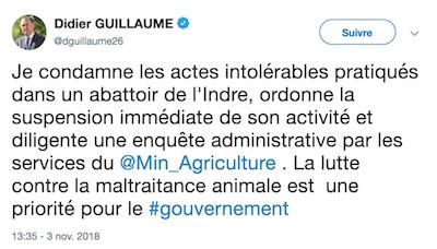 Le ministre de l'Agriculture demande la fermeture temporaire de l'abattoir