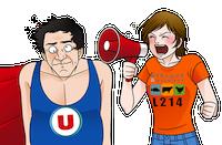 """""""Stop aux oeufs de batterie !"""" par l'association Ethique animaux L214 SuperU-megaphone"""