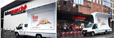 Une précédente tournée en camion à destination d'Intermarché avait été organisée le 24/09 dernier à Lille. Détournant la célèbre publicité du distributeur en question « Les légumes moches », le camion portait l'inscription « Le poulet moche ne sera jamais aussi moche que ce qu'Intermarché lui fait subir ». L'enseigne s'était engagée au lendemain du lancement de la campagne.