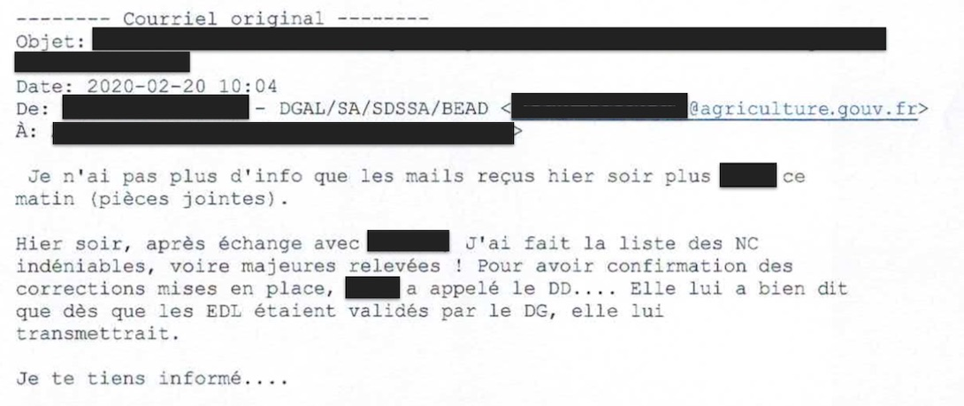 Email DGAL abattoir sobeval infractions