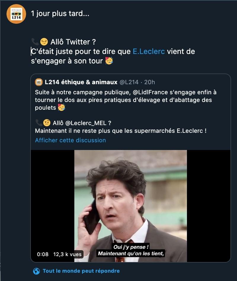 Tweet de L214 pour l'engagement de E. Leclerc