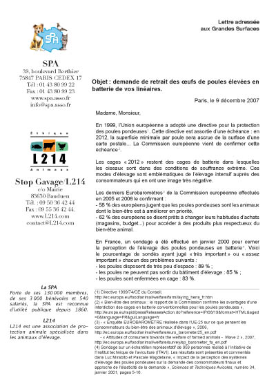 lettre de demande de retrait des oeufs de batterie adressée aux Grandes Surfaces