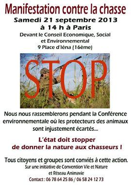 Affiche de la manifestation contre la chasse